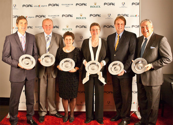 The 2013 Annual Award Winners (from left) John Jacobs Teaching & Coaching Award Winner, Lee Scarbrow; Special Recognition Award Winner, Doug Poole; Lifetime Achievement Award Winner, Alison Nicholas; President's Award for Golf Development, Gilliam Burrell; 5 Star Professional Award Winner, Guido Tillmans; and Christer Lindberg Bowl Winner, Joe Steranka