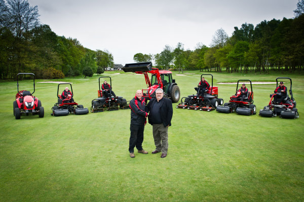 Peter Sands, course manager at Longcliffe Golf Club on the left shakes hands with Andy Humble from Lely UK.
