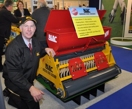 BLEC Global managing director Gary Mumby with the new close-spaced greens seeder launched at BTME.