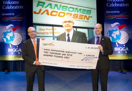 Alan Prickett presents the cheque to Jim Croxton