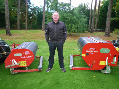 Course Manager Paul Robinson with his duo of Verti-Drains