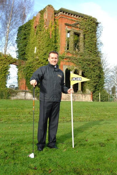 JCB CEO Graeme Macdonald in front of the ruins of Woodseat Hall, location of the new JCB Golf course