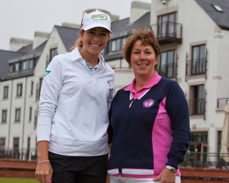 Pat Sawers with LPGA star Paula Creamer prior to the Ricoh Women's British Open in 2011