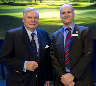 Peter Alliss with Jim Croxton at the Welcome Reception sponsored by Jacobsen