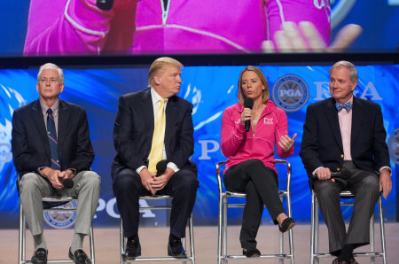 Annika Sorenstam speaks at 'The State of the Industry Panel Discussion' with PGA President Ted Bishop, Donald Trump and former USGA Executive Director David Fay