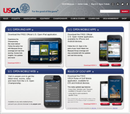 USGA Mobile App page