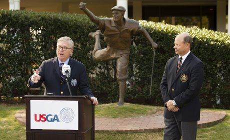 Thomas J. O'Toole Jr., USGA president-elect speaks as Michael Davis, USGA executive director looks on as Payne Stewart is announced as the 2014 Bob Jones Award winner