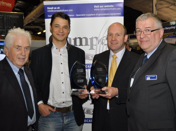 Campey dealers of the year Mark Trubenbacher of Germany (centre left- European award) and Sandy Armit of Double A (UK award )with David Briggs (left) and md Richard Campey at BTME