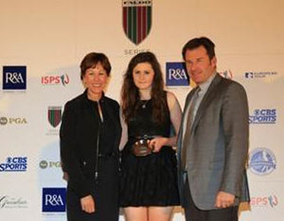 Olivia Mehaffey of Northern Ireland receives her Faldo Series Girls' Under-16 runner-up trophy from Sir Nick Faldo and The PGA of America's Suzy Whaley at The Greenbrier, USA in October 2013