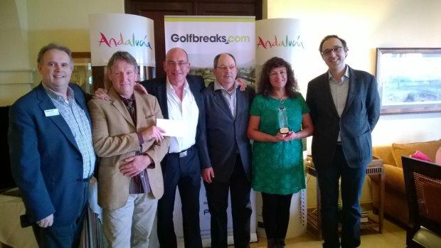 (left to right) Jim Long (Golfbreaks.com Director of Golf Pro Relations), Team Pro Gary Copeman, Mark Robinson, Stefano Biagnasca, Teresita Biagnasca, Manuel Ortega Garcia (Andalucia Tourist Board)