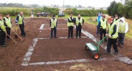 Greenkeeping students at SRUC Elmwood Campus, Scotland, preparing seed trials with Rigby Taylor seed