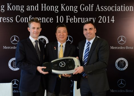 As a symbol of the newly announced partnership, Andreas Binder (right), President and CEO of Mercedes-Benz Hong Kong Limited presents a key to Tom Phillips (left), CEO of the Hong Kong Golf Association (HKGA) and William Chung Pui-lim (centre), President of the HKGA for a Mercedes-Benz C200 AMG which will serve as the official car of the HKGA during the three-year agreement