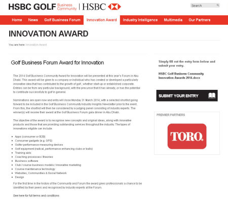 HSBC GBC Innovation award webpage