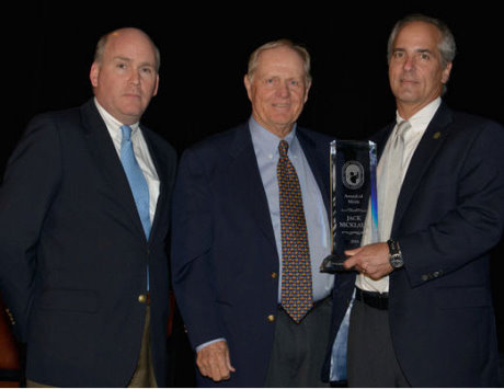 Jack receiving the National Golf Course Owners Association's Award of Merit from NGCOA CEO Mike Hughes (right) and incoming President Matt Galvin