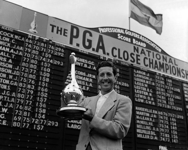 Ken Bousfield wins the inaugural British PGA Championship in 1955 (Getty Images)