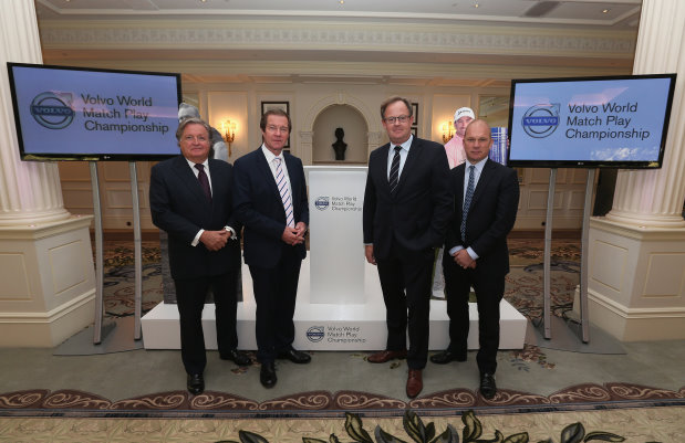 (L-R) Charles Fairweather, Chairman of the London Golf Club;   George O'Grady, Chief Executive of The European Tour;l Per Ericsson, President of Volvo Event Management and Guy Kinnings, Global Head of Golf IMG  (Photo by Andrew Redington/Getty Images)