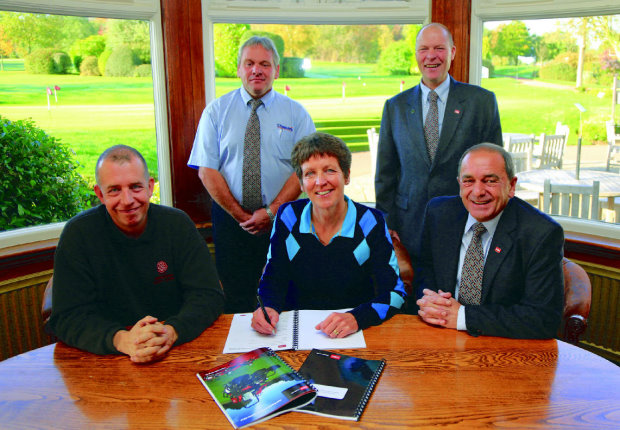 Front from left: Ed Stant, course manager, Trentham Golf Club, Julie Wright, chairwoman of the board, Trentham Golf Club, Lely UK's John Pike. Back Oakley's area manager Andy Terry is on the left with Ray George, Oakley's managing director
