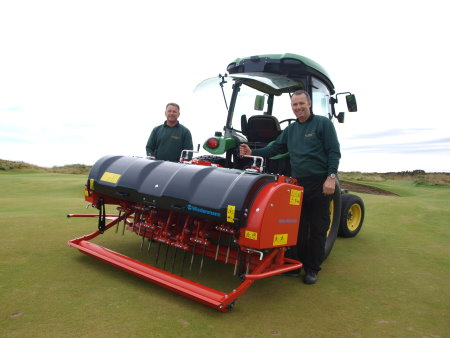 Course Manager at Royal Aberdeen Robert Patterson, right, with Deputy Course Manager, Steve Frost, left, taking delivery of their new Terra Spike GXi8HD deep fast aerator from Wiedenmann's exclusive dealer in Scotland, Fairways GM