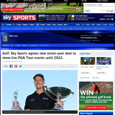 Sky Sports Golf webpage