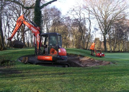 Speedcut at work on Silvermere Golf Club's second green bunker in Surrey