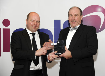 John Clark, PING Managing Director (right) collects his award for Supplier of the Year from TGI Golf Chairman Gordon Stewart