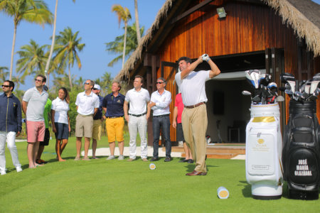 The golfing legend hits the ceremonial tee-shot at the official opening of his Velaa Golf Academy by Olazabal