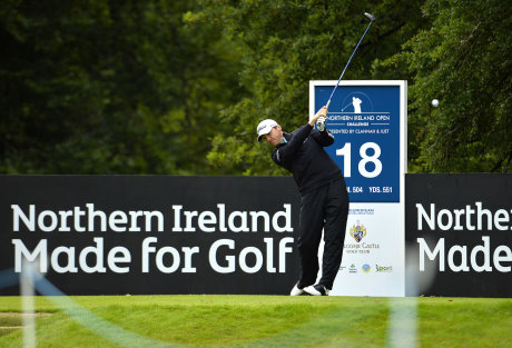 Galgorm Castle's new Touring Professional Michael Hoey tees off from the 18th tee during last year's Northern Ireland Open at the Ballymena venue (Credit: PressEye)