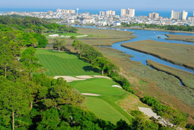 Tidewater Golf Club's third and 12th holes are nestled beside the Intracostal Waterway and Cherry Grove Beach
