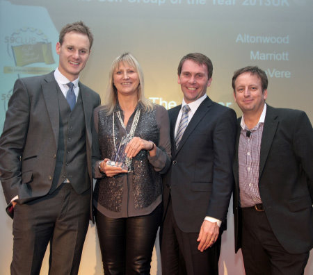 Director of Golf, Spa & Leisure Operations Alison Ainsworth Picks up the Golf Group of the Year award Left to right: Dan Walker (Host), Alison Ainsworth (Marriott), Robert Maxfield (commercial and property director at PGA) and Simon Wordsworth (chief executive at 59Club).