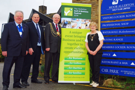 Cannon Keith Madeley MBE, Henry Stone chair of Moor Allerton Golf Club, the Lord Mayor of Leeds, Councillor Tom Murray and the Lady Mayoress, Edna Murray