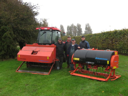 After 17 years' service the team at Clacton-on-Sea GC (l-r)Daniel Frost, Dorz Ansell, Alan Smith (Head Greenkeeper) and Matt Smith bid farewell to their Wiedenmann Terra Spike P6 and welcome a new Terra Spike XD6