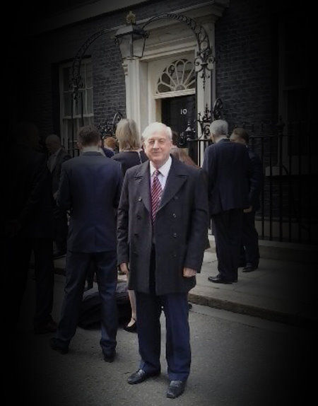 David Croxton, Chair of the GTC's Trailblazer Group, outside the door of No 10 Downing Street. (Photograph by Ryan Bezzant)