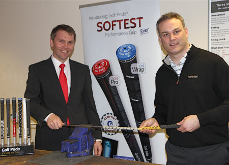 Robert Maxfield, The PGA's joint chief operating officer and property and commercial director, (left) with Golf Pride's Conor Dillon. Image courtesy of Adrian Milledge