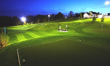 Floodlit play at Modern Golf, Austria's first all-weather golf course created by Huxley Golf