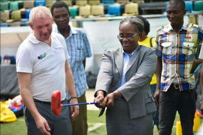 SNAG Director of Schools Sports for the State, Mrs Grace Asagba (pictured wit...