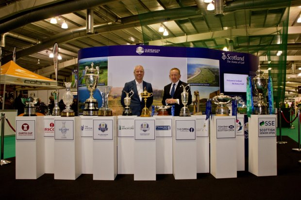 The 13 trophies in attendance at the Scottish Golf Show are: The Ryder Cup, The Claret Jug (The Open Championship), The Solheim Cup, RICOH Women's British Open, Aberdeen Asset Management Scottish Open, Aberdeen Asset Management Ladies Scottish Open, The Johnnie Walker Championship, The Curtis Cup, The Senior Open Championship, The Scottish Hydro Challenge, The SSE Scottish Seniors Open, The Amateur Championship, The Junior Ryder Cup