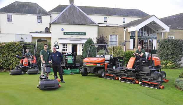 Greg Cox (far left), Course manager John Hall, Mike Harris of TH White and Adam Baldwin with the club's new acquisitions