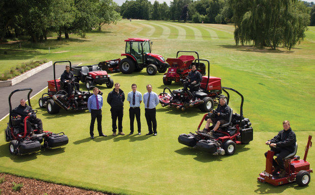 From left to right: Charlie Glenister from Olivers, Crews Hill course manager Adam McColl, James Boyle from Olivers and Lely's Larry Pearman.