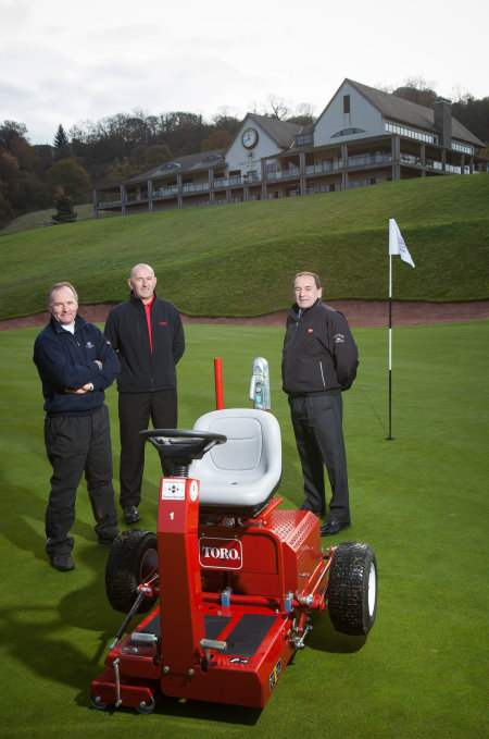With the GreensPro 1200 Jim McKenzie stands on the left, Lely's John Pike on the right and Wyn Davies of dealer Ted Hopkins in the middle.