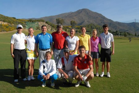 Some of the young Russian golfers and their coaches at Valle Romano Golf Resort