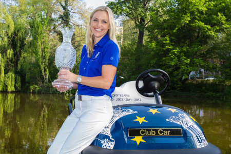 European Solheim Cup Team Captain Carin Koch poses with her 2015 Captain's Club Car vehicle
