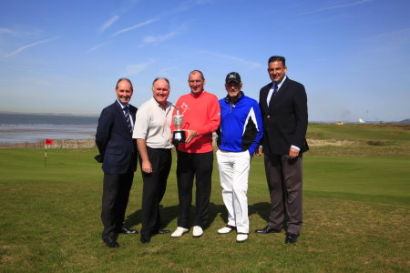 Andy Stubbs, Managing Director of the European Senior Tour, Ronan Rafferty, Mark Mouland, Gordon Brand Jnr, Martin Ebert from the R&A at Royal Porthcawl for the Senior Open Championship Presented by Rolex Media and Sponsors' day (Phil Inglis)