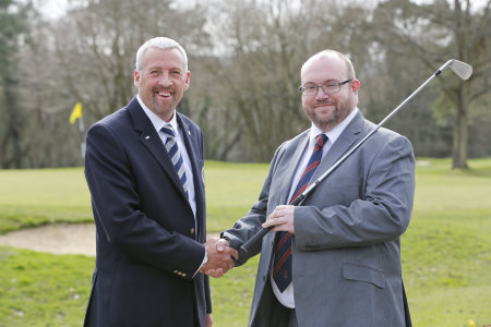 Richard Talboys, right, with PGA in England (South) chairman Rob Edwards