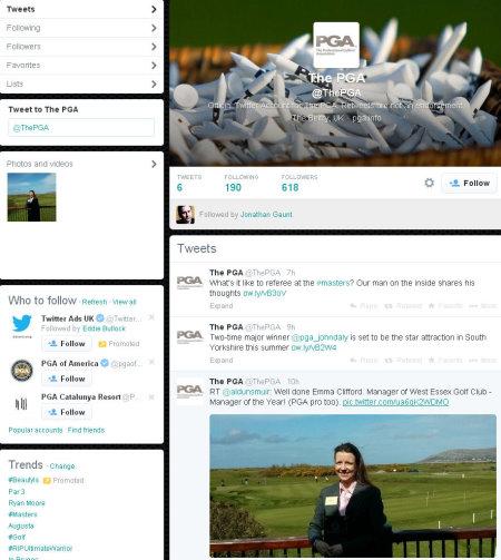 PGA Twitter page
