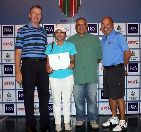 Patrick Young, CEO, Faldo Series Asia (left) congratulates Princess Mary Superal on her success in the seventh Faldo Series Philippines Championship as Raymund Bunquin. General Manager at Eagle Ridge Golf & Country Club, and Luigi Tabuena, President, Junior Golf Foundation of the Philippines, look on