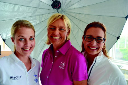 Liselotte Neumann (centre), the latest abacus® brand ambassador together with Abacus Sportswear Chief Designer, Chris Mattsson (right) and Marketing Manager, Emma Westerberg (left)