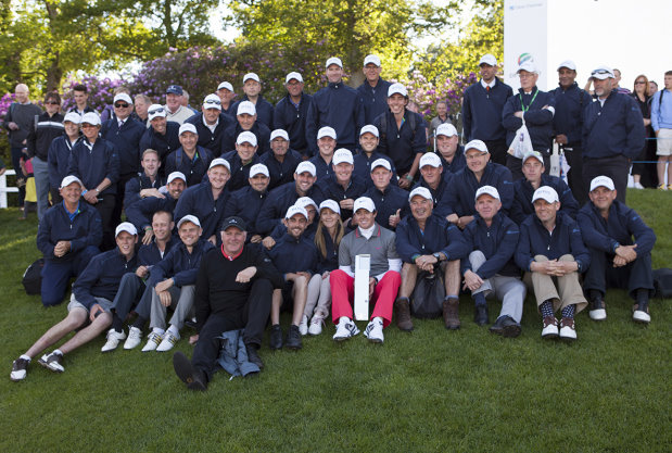 BIGGA team of volunteers at Wentworth for BMW PGA Championship pictured with the winner, Rory McIlroy