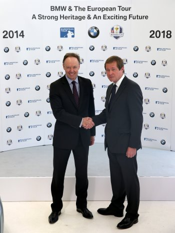 Dr Ian Robertson, Member of the Board of Management of BMW AGM, Sales and Marketing (left), and George O'Grady, Chief Executive of The European Tour, shake hands on the four-year extension to their current partnership at BMW's Park Lane dealership in London (Photo by Ian Walton/Getty Images)