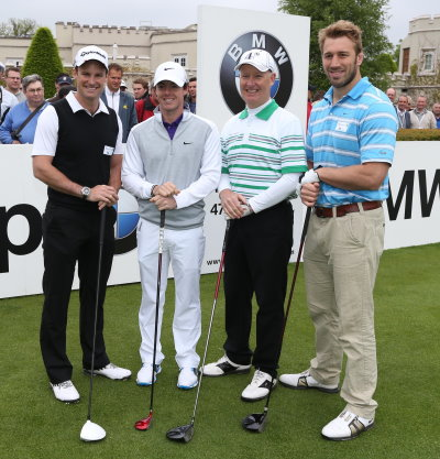 L-R) Andrew Strauss, Rory McIlroy, Tim Abbott (Managing Director, BMW UK) and Chris Robshaw on the first tee of the 2013 BMW PGA Championship Celebrity Pro-Am