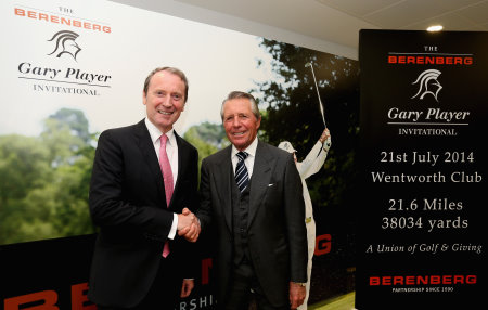 Dr. Hans-Walter Peters, Managing Partner – Berenberg, with Gary Player to announce the 2014 Berenberg Gary Player Invitational pro field at Berenberg office, Threadneedle Street, London